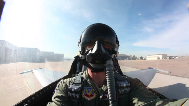 WS F-16 pilot inside the cockpit while taxiing, Aurora, Colorado, USA