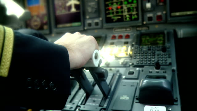 stockvideo's en b-roll-footage met pilot pushing power handle - taking off