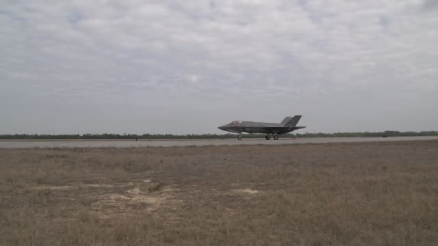pilot squadron leader hugh nichols performing the first uniformed british stovl operation in the f-35 lightning ii at eglin air force base. - us marine corps stock videos & royalty-free footage
