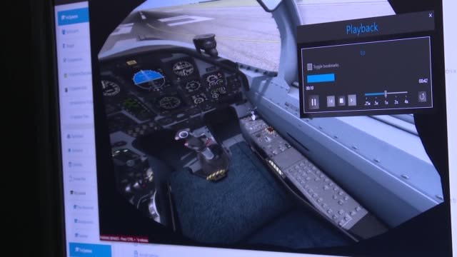 pilot training with virtual reality flight simulator at armed forces reserve center in austin texas - control stock videos & royalty-free footage