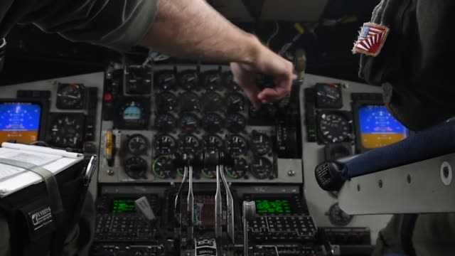 pilots fly a kc-135 stratotanker during a refueling mission after taking off from kadena air base, japan, may 8, 2019. - 計測器点の映像素材/bロール