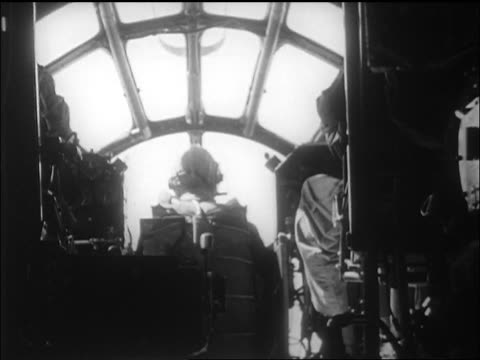 view pilots in cockpit of b29 with yeager's bell x1 airplane / california / newsreel - 1947 stock videos & royalty-free footage