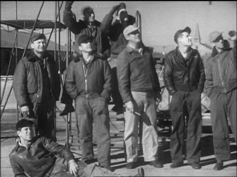 b/w 1947 pilots watching launch of chuck yeager's bell x1 airplane / california / newsreel - 1947 stock videos and b-roll footage
