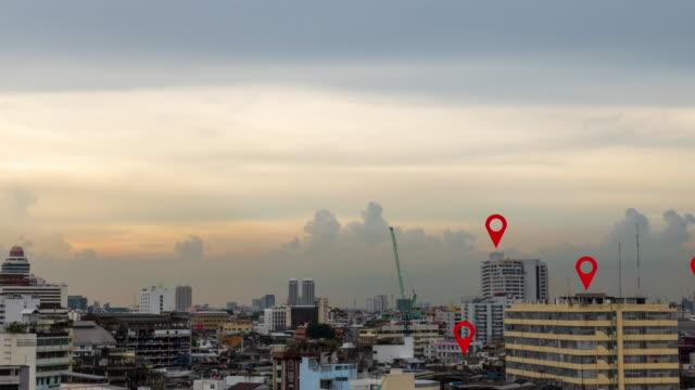 vídeos de stock, filmes e b-roll de mapa da cidade do pino - map pin icon