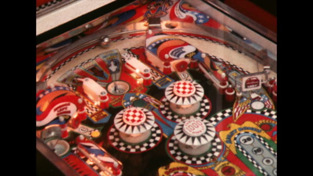 pinball is launched and bounces around pinball machine; 1980 - 1980 stock videos & royalty-free footage