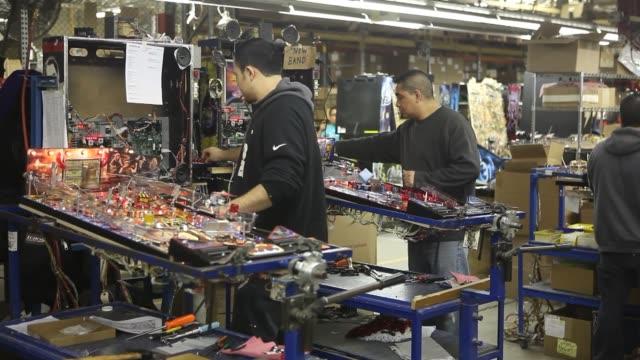 pinball machines stern pinball manufacturing assembly line stern pinball manufacturers on january 23 2013 in melrose park illinois - pinball machine stock videos & royalty-free footage