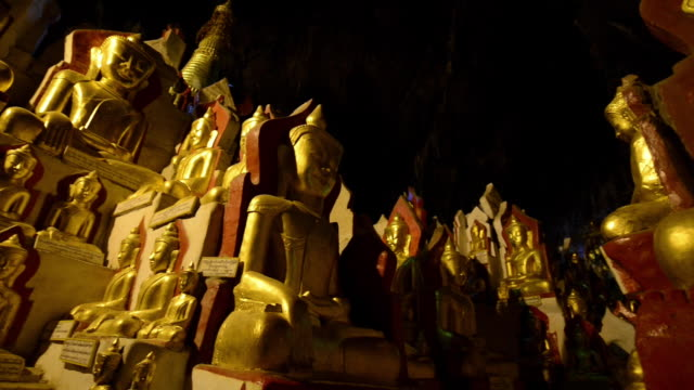 pindaya grotto buddhist shrine, myanmar - grotto cave stock videos and b-roll footage