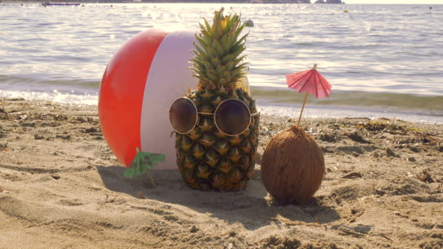 pineapple with sunglasses and coconut with umbrella are sunbathing on the beach - pineapple stock videos & royalty-free footage