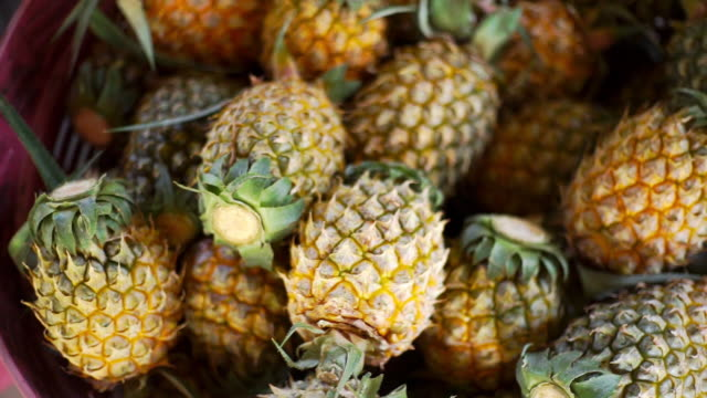 pineapples in the basket - pineapple stock videos & royalty-free footage