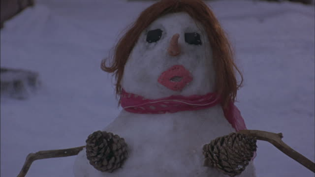 pine-cones, hair and a scarf decorate a female snowman. - pinecone stock videos & royalty-free footage