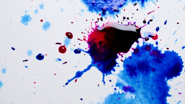pink and blue ink droplets splash onto white background - stationary stock videos & royalty-free footage