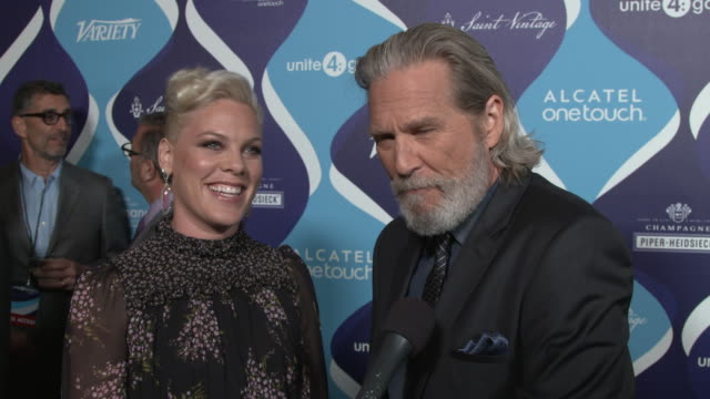 INTERVIEW Pink and Jeff Bridges on how Pink feels about being honored for her philanthropic work and on Jeff's involvement in the night why No Kids...