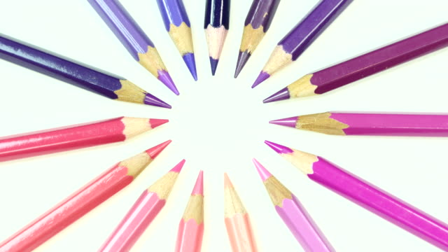 Pink and purple tone color pencil. Top view.
