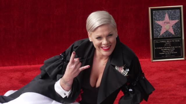 pink at pnk honored with a star on the hollywood walk of fame - pink stock videos & royalty-free footage
