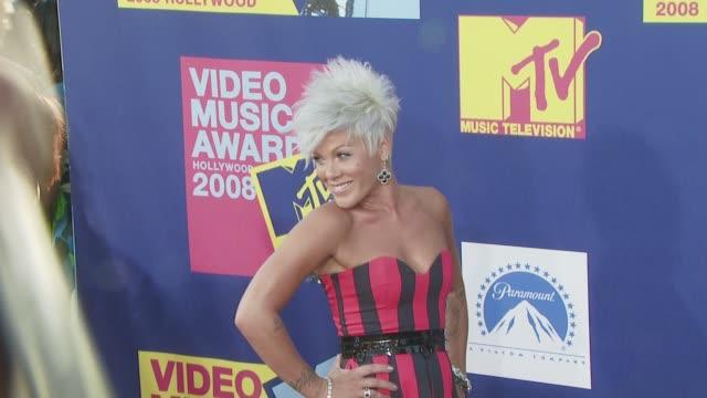 pink at the 2008 mtv video music awards at los angeles ca - mtv video music awards stock videos & royalty-free footage