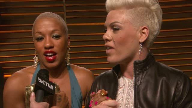 interview pink at the 2014 vanity fair oscar party hosted by graydon carter arrivals on march 02 2014 in west hollywood california - earring stock videos & royalty-free footage