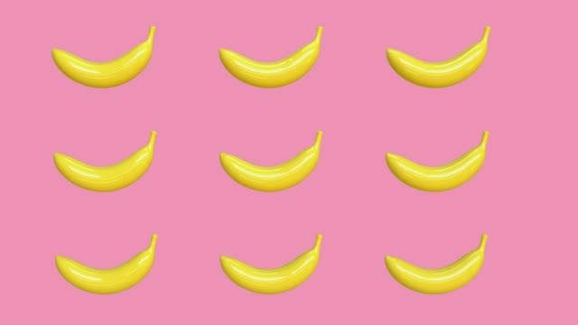 pink background yellow abstract banana cartoon style 3d rendering food/fruits healthy concept - banana stock videos & royalty-free footage