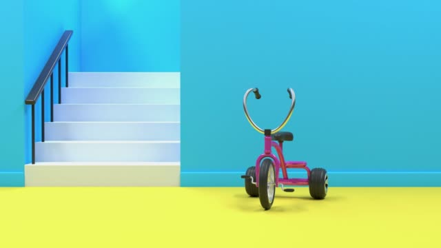 pink bicycle/tricycle in blue yellow room abstract motion 3d rendering - tricycle stock videos & royalty-free footage