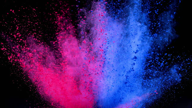pink blue color powder explosion super slow motion - blue stock videos & royalty-free footage