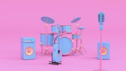 rosa blå musik instrument tecknad stil 3d-rendering - musikinstrument bildbanksvideor och videomaterial från bakom kulisserna