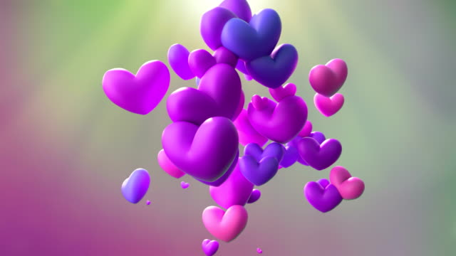 pink bouncing hearts animation