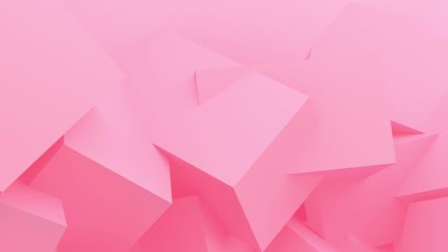 背景のためのピンクボックス幾何学的移動ループ。コンセプト: 抽象的な背景 , モーショングラフィック , パーティー.3d レンダリング。 - パステルカラー点の映像素材/bロール