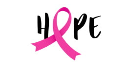 Pink breast cancer awareness ribbon with hope lettering design.