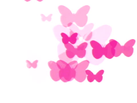 CGI Pink butterflies on white background