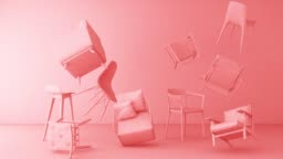 pink chairs in empty white background. Concept of minimalism & installation art. 3d rendering mock up