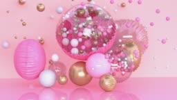 pink clear/transparency balloon levitation abstract sphere gold metallic shiny colorful scene 3d rendering motion surprise decoration concept