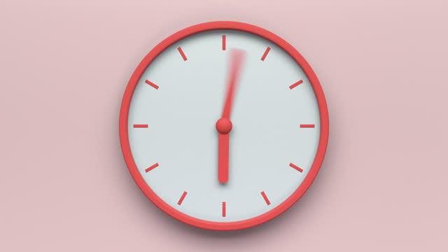 pink clock loop - single object stock videos & royalty-free footage