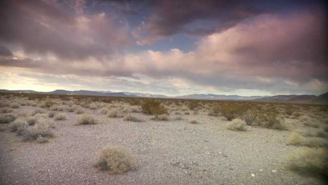 ws pink clouds above desert landscape / death valley national park, california, usa - stationary process plate stock videos and b-roll footage