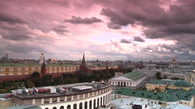pink clouds drift over red square in moscow. available in hd. - 2005 stock videos and b-roll footage
