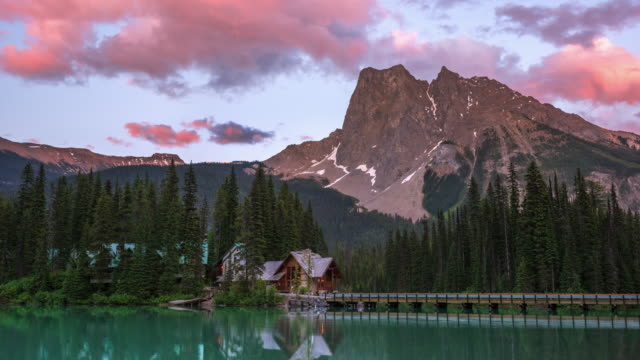 T/L Pink clouds roll above Mount Burgess and Emerald Lake at twilight / Yoho National Park, British Columbia, Canada