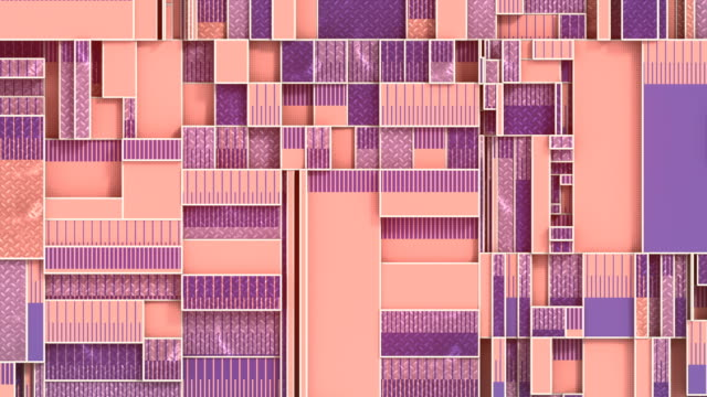 ピンク色の幾何学的形状は、水平および垂直の平面で移動します。機械運動の創造的な概念。3d レンダリングシームレス ループ アニメーション。hd - 投影図点の映像素材/bロール