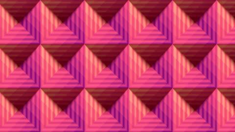 ピンク色のストライプピラミッドシームレスなループアニメーションの背景。3d レンダリング。hd解像度 - 投影図点の映像素材/bロール