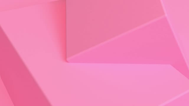 pink cube abstract 3d rendering of looped animation with geometric shapes. motion design, 4k uhd - geometric stock videos & royalty-free footage