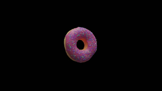 pink donut floating in mid-air with alpha channel - single object stock videos & royalty-free footage