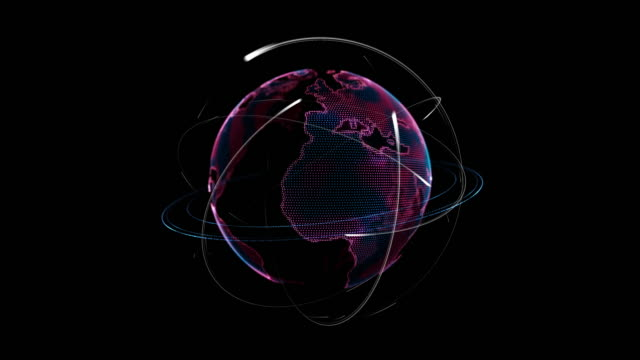 pink earth technology globe rotating with atom with electrons orbit around the earth - atom stock videos & royalty-free footage
