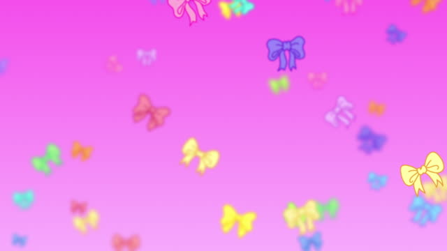 Pink exploding cartoon bows animation