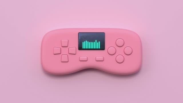 pink flat lay scene technology concept 3d rendering game control/joystick - still life video stock e b–roll