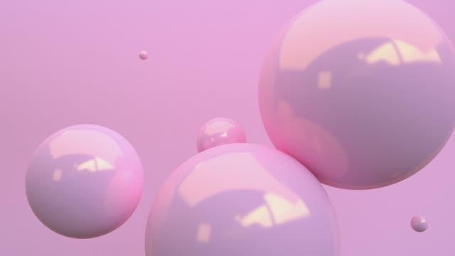 背景のモーション 3d レンダリングに浮かぶピンクの光沢バルーン。コンセプト: 抽象的な背景 , モーショングラフィック , パーティー. - パステルカラー点の映像素材/bロール