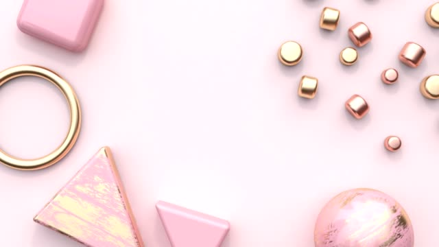 pink gold pastel decoration element geometric shape flat lay scene abstract motion graphic 3d rendering blank space - pastel stock videos & royalty-free footage