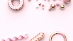 pink gold pastel decoration element geometric shape flat lay scene abstract motion graphic 3d rendering blank space