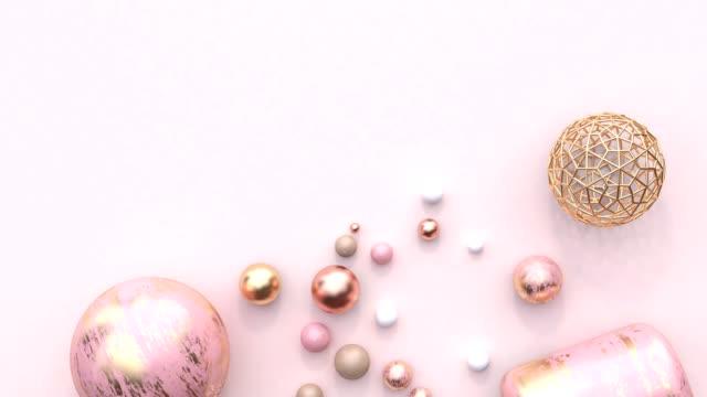 rosa guld pastell dekoration element geometriska formen platt lekmanna scen abstrakt motion grafik 3d-rendering tomt utrymme - kula geometriformad bildbanksvideor och videomaterial från bakom kulisserna