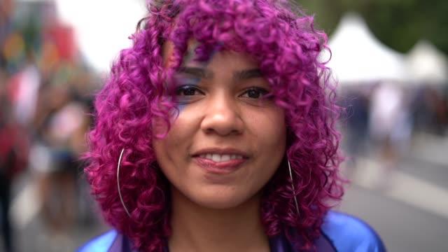 pink hair girl portrait - pink hair stock videos & royalty-free footage