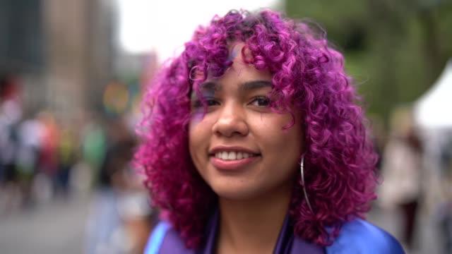 pink hair girl portrait - pardo brazilian stock videos & royalty-free footage