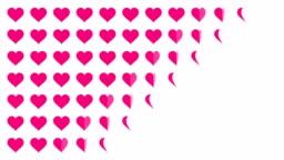 Pink Heart symbol pattern paper flip loop animation 4K on white background