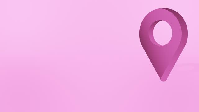 pink location pin pointer animiertes cartoon-symbol - wegweiser stock-videos und b-roll-filmmaterial