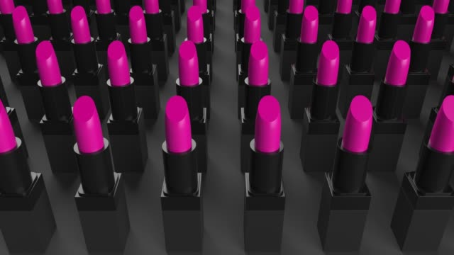 4k pink loop lipsticks collection - pink lipstick stock videos and b-roll footage
